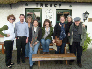 Casey and family outside a Treacy Pub in Ireland