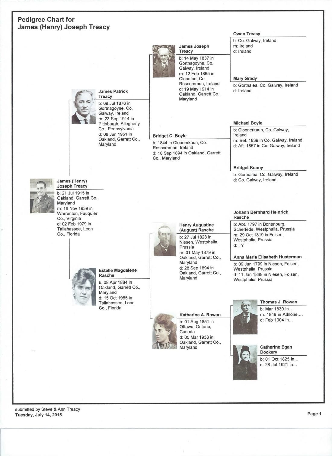 pedigree chart for James (Henry) Joseph Treacy